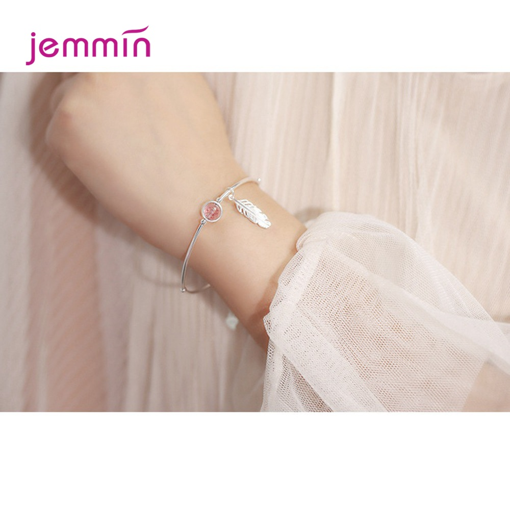 Vintage Style Feather Jewelry Bangle for Ladies Fine 925 Sterling Silver with Pink Strawberry Stone Adjustable Bracelets