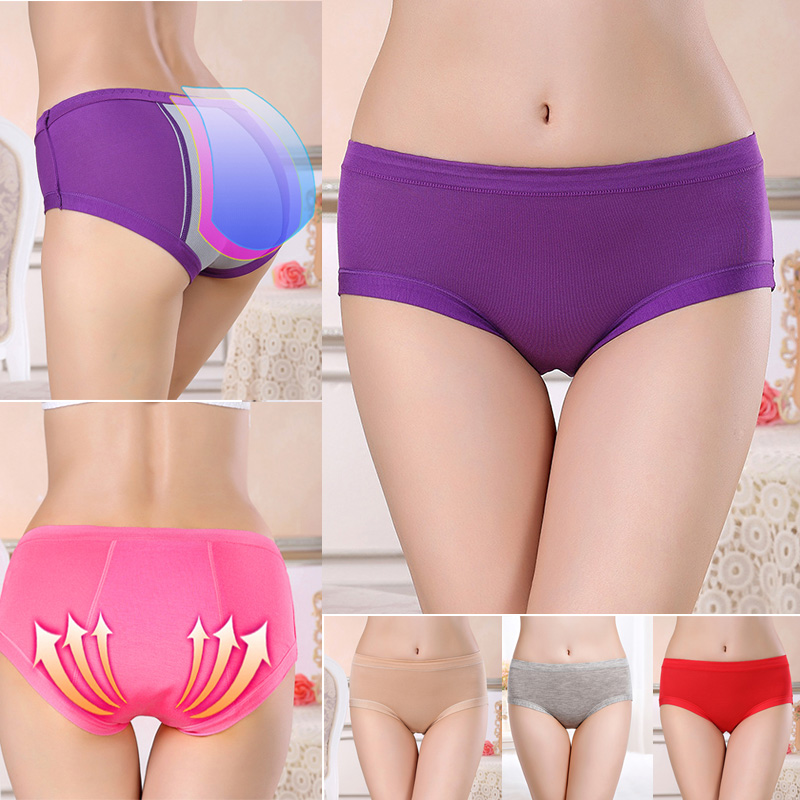 New Arrival 3 Pcs Women Mid Waist Anti-Side Leakage Underwear Leak Proof Panties Stretch Breathable Briefs