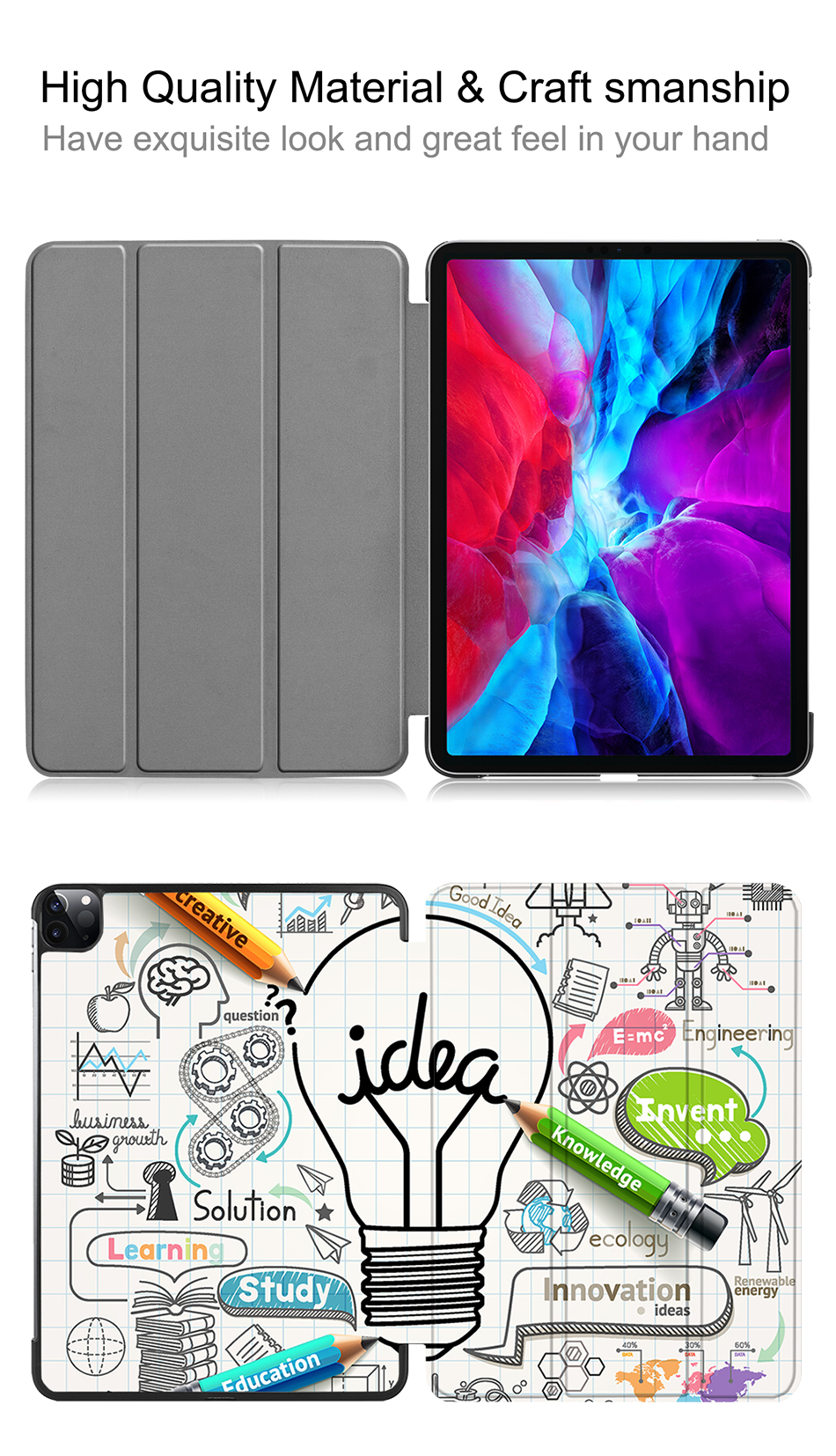 Case Pro Stand Smart 2020 Gen inch For 12.9 Cover 4th PU Cover Leather Flip iPad MTT