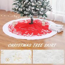 1pc White Tree Skirt High-grade Plush Christmas Skirts Fur Carpet Merry Decoration For Home Natal Xmas