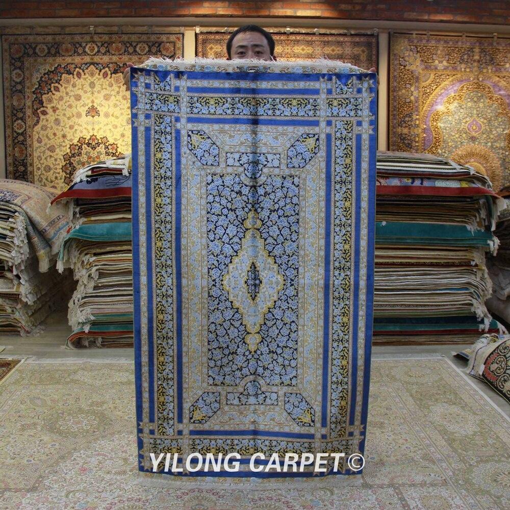 Yilong 3'x5' tapis persan Oriental d'iran bleu rose tapis en soie noué à la main (ZQG309A)