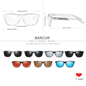 Image 2 - Barcur Aluminium Mannen Zonnebril Gepolariseerde Mannelijke Zonnebril Voor Mannen Vrouwen Brillen Accessoires
