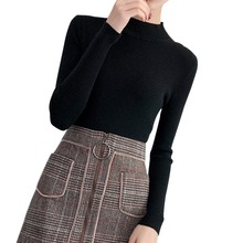 Black Sweater Women Autumn Winter Pullover Slim Basic Solid Color Sweaters Long Sleeve Turtleneck  Korean Style Knit