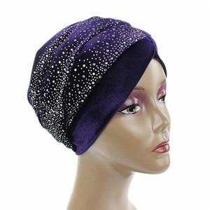 Image 4 - Clearance Women Velvet Turban Long Head Wraps Scarf Luxury Drill Hat Cap Hijab Muslim HeadScarf Hair Accessories Dropshipping