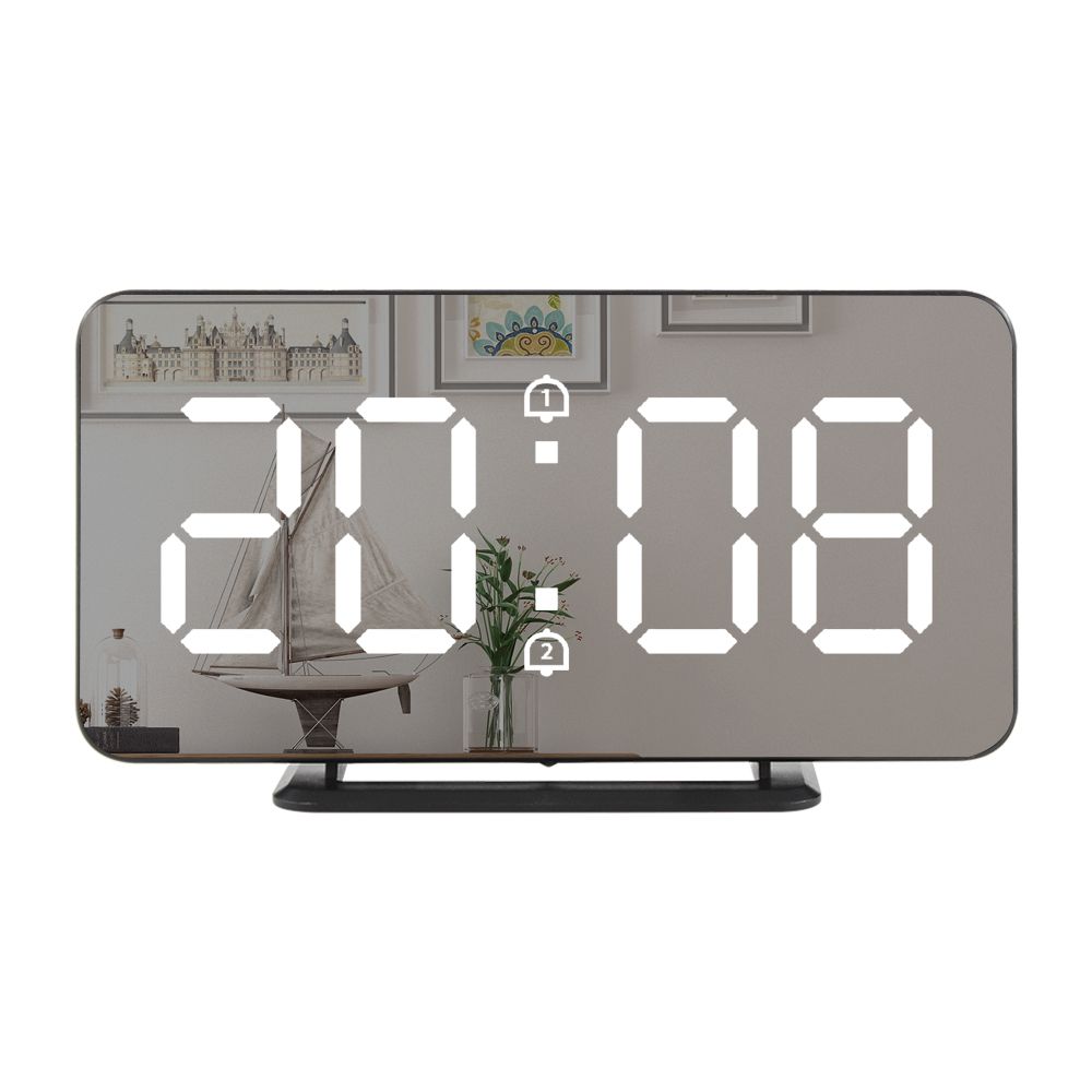 Fanju Electronic USB Mirror Alarm Clock LED Digital Snooze Clock With Temperature Nightlight Function 3216