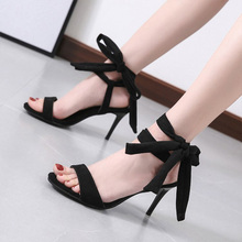 Fashion Sexy Lace Up Women Sandals Peep Toe Thin Heel Cross tied Party Shoes High Heel CM Black Sandals ankle peep toe high heel newest real photo sandals hot sale side angle wing thin heel white black summer party cut out women