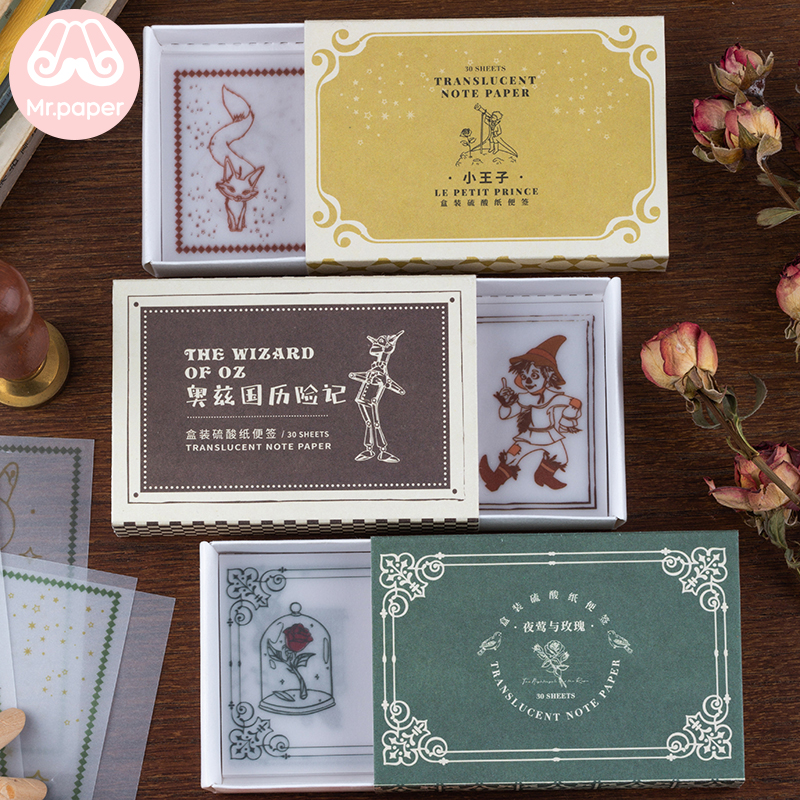 Mr Paper 30pcs/box Fairy Tales Alice In Wonderland Little Prince Memo Pads Transparent Sulfate Butter Paper Loose Leaf Memo Pads