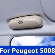 Estuche de almacenamiento para gafas de sol de coche, caja de soporte para gafas de sol, Clip para Visor de gafas de sol para Peugeot 5008 2017-2019