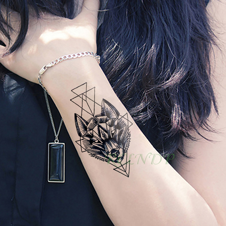 Waterproof Temporary Tattoo Stickers Wolf Dog Head Fake Tatto Geometric Animal Flash Tatoo Hand Back Foot For Girl Women Men