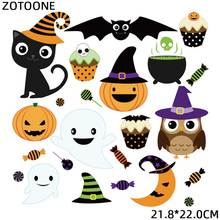 ZOTOONE Cute Animal Halloween Patches Pumpkin Sticker Iron on Transfers for Clothing Diy Heat Transfer Accessory Appliques G