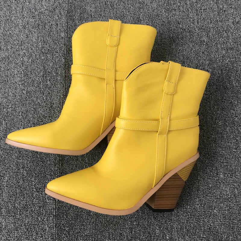 Sarı marka tasarımcısı yarım çizmeler kadınlar için Faux deri kovboy botlar takozlar topuk çizmeler bayan sivri burun batı kış ayakkabı