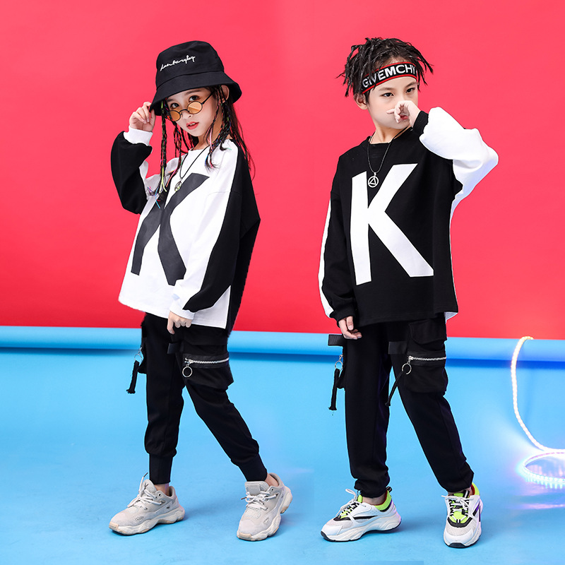 Kid Fashion Hip Hop Clothing Black White Loose Sweatshirt Shirt Top Running Casual Pants For Girl Boy Jazz Dance Costume Clothes
