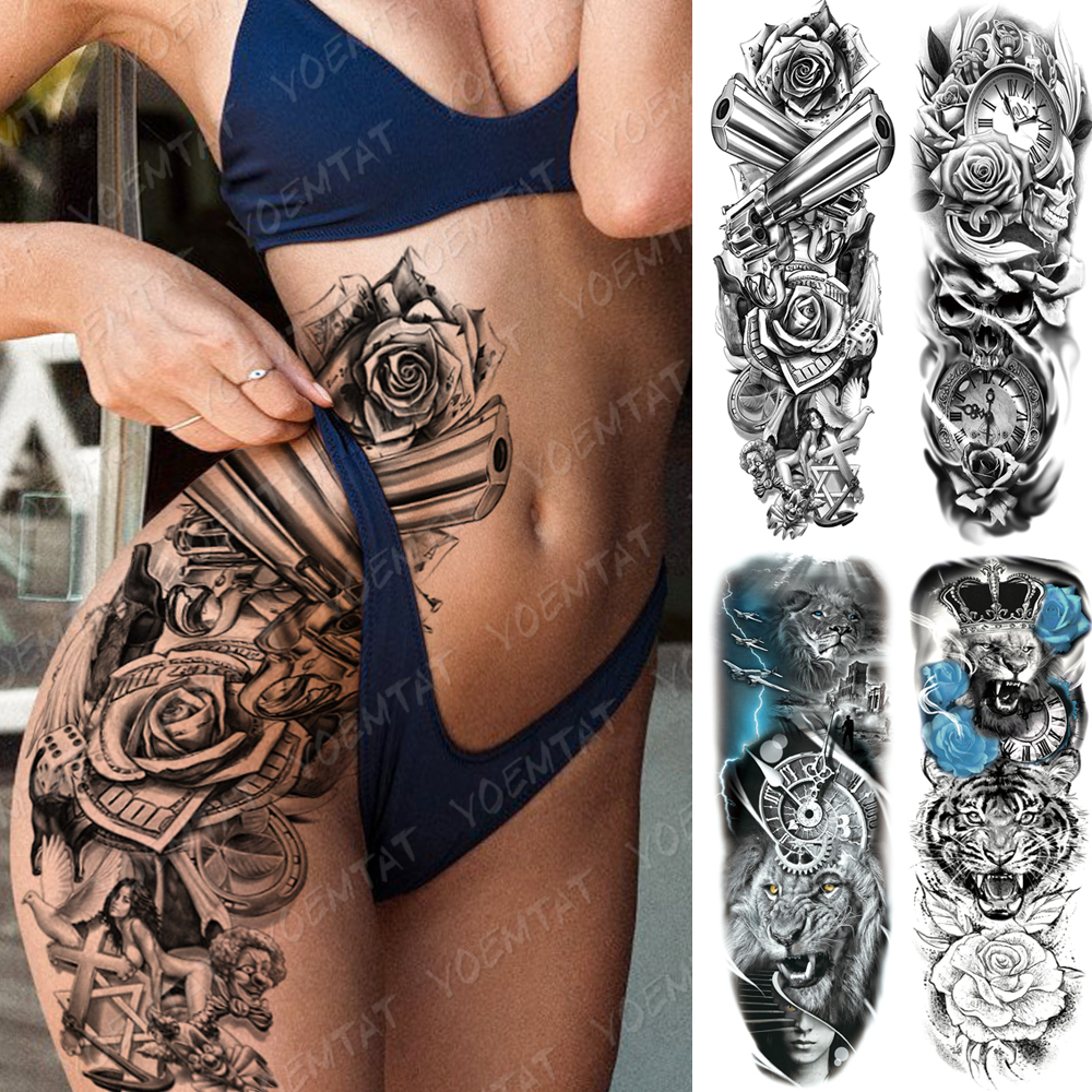 Large Arm Sleeve Tattoo Gun Rose Lion Waterproof Temporary Tatto Sticker Clock Flower Waist Leg Body Art Full Fake Tatoo Women