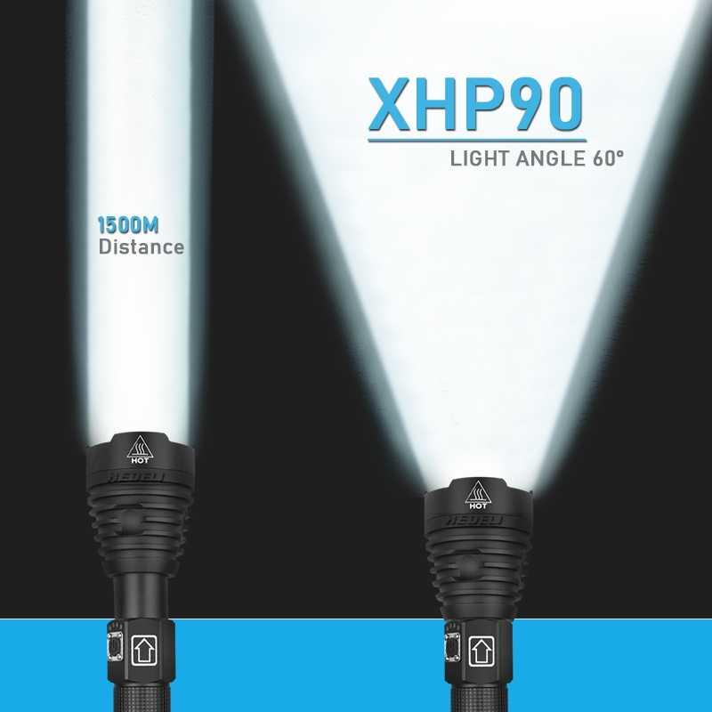 300000 lm xhp90.2 החזק ביותר led פנס לפיד usb xhp50 נטענת טקטי פנסים 18650 או 26650 יד מנורת xhp70