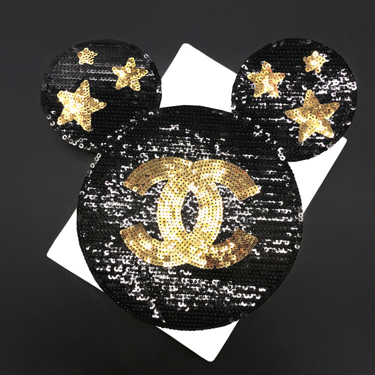 Bonito 2 piezas Mickey lentejuelas costura de parches para ropa tamaño 29*27cm ratón de dibujos animados aplique de lentejuelas parche niña DIY hecho a mano Vestido de princesa de lentejuelas para niños 2019 vestido para niñas con apliques de unicornio de algodón de manga larga ropa de princesa para niños