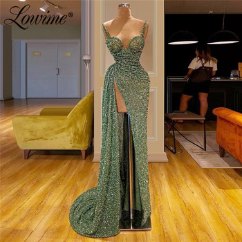 Prom Dresses Kaftan Dubai High Split Side Arabic Sparkly Fabric Party Gowns Robe De Soiree Abendkleider 2019 New Custom Glitter - discount item  40% OFF Special Occasion Dresses