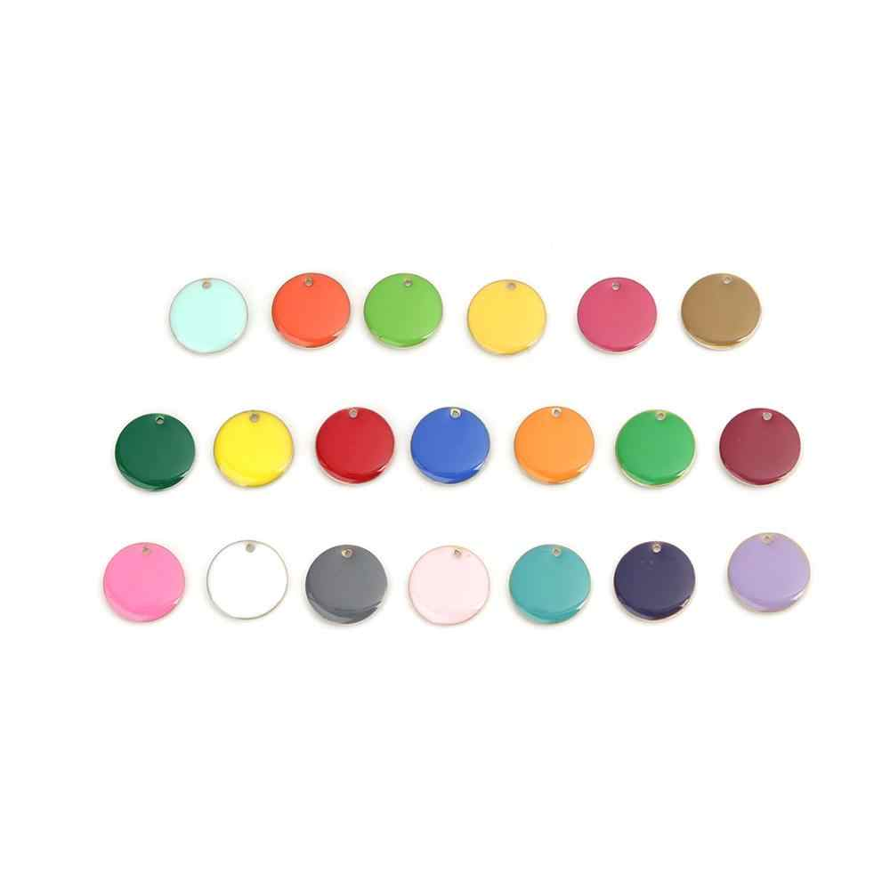 Doreenbeads Hot Fashion Tembaga Enamel Payet Liontin Pesona Warna-warni Bulat Perhiasan DIY Temuan 16 Mm Diameter, 10 Pcs