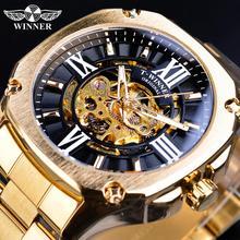 лучшая цена Winner Golden Men's Automatic Wrist Watch Steampunk 3D Dial Design Full Stainless Steel Band Waterproof Mechanical Watches Clock