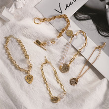 Fashion Baroque Irregular Bracelet Chic Imitation Pearls Gold Metal Link Chain Bracelets for Women Girl Summer Party Jewelry(China)