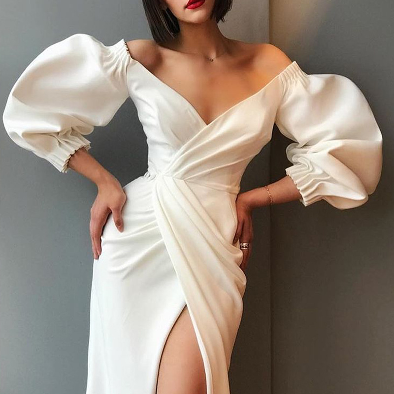 2019 <font><b>Deep</b></font> <font><b>V</b></font> Neck Women Irregular Summer New Puff Sleeve <font><b>Dress</b></font> <font><b>Sexy</b></font> Evening Party <font><b>Dress</b></font> Solid Color image