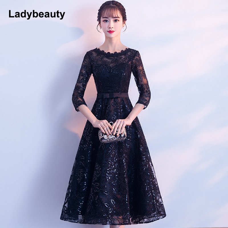 Ladybeauty New Arrival 2019 Short Black Color Lace Embroidery Prom Dress Tea-Length Elegant Party Girls Evening Dresses