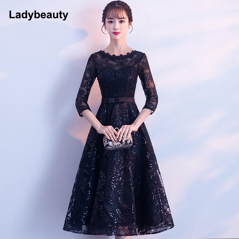 Ladybeauty New Arrival 2019 Short Black Color Lace Embroidery Prom Dress Tea-Length Elegant Party Girls Evening Dresses