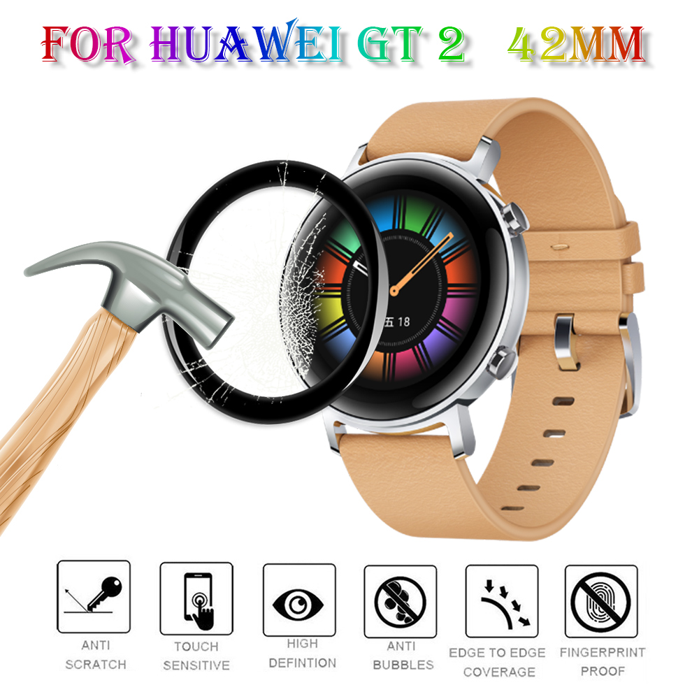 New 3D Full Edge High Quality Fibre Glass Protective Film Smart watch Screen Protector Accessories For Huawei GT 2 Watch 42mm