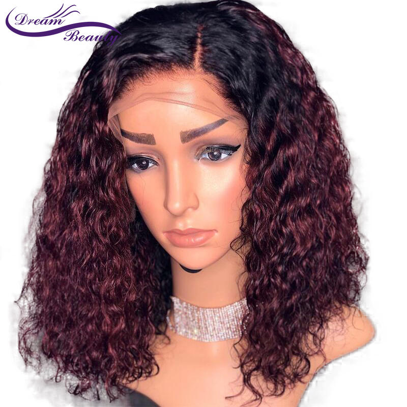 Ombre Burgundy Curly Wig Brazilian Remy Hair Pre Plucked 13x4 Ombre Lace Front Human Hair Wigs With Baby Hair Dream Beauty