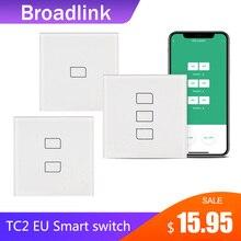 Broadlink tc2 1/2/3 gang interruptor de luz padrão da ue design moderno painel de toque branco wi fi controle inteligente sem fio via rm4 pro