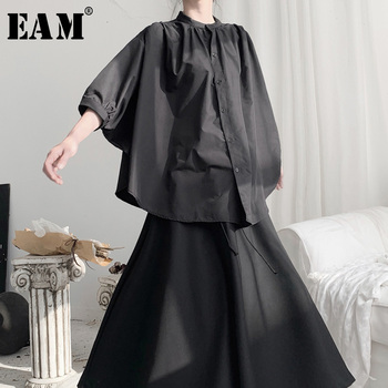 [EAM] Women Black Pleated Big Size Blouse New Stand Collar Batwing Sleeve Loose Fit Shirt Fashion Spring Autumn 2020 19A-a696