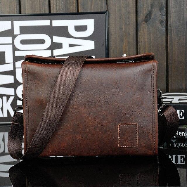 Bolsa masculina de couro pu, bolsa executiva casual masculina de alta qualidade feita em couro sintético de poliuretano com fecho
