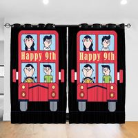 Living Room Sun Block Curtain Happy 9th Birthday Party Balloons Toy Car Light Shading Bedroom Blackout Window Curtains 52x72In