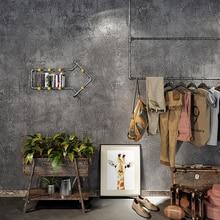 Vintage Industriële Vlakte Effen Behang Voor Home Decor Reliëf Faux Beton Muren Grijs Kleur Muur papierrollen Voor Doek Winkel