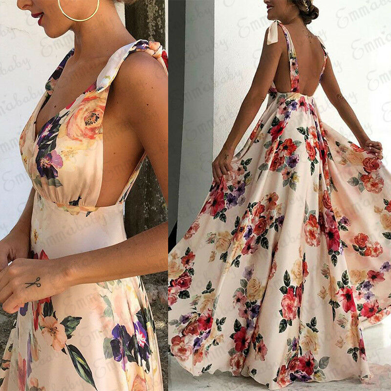 Women Boho Summer Floral Sleeveless V-Neck Backless Vintage Long Maxi Dress Ladies Party Evening Summer Beach Sundress