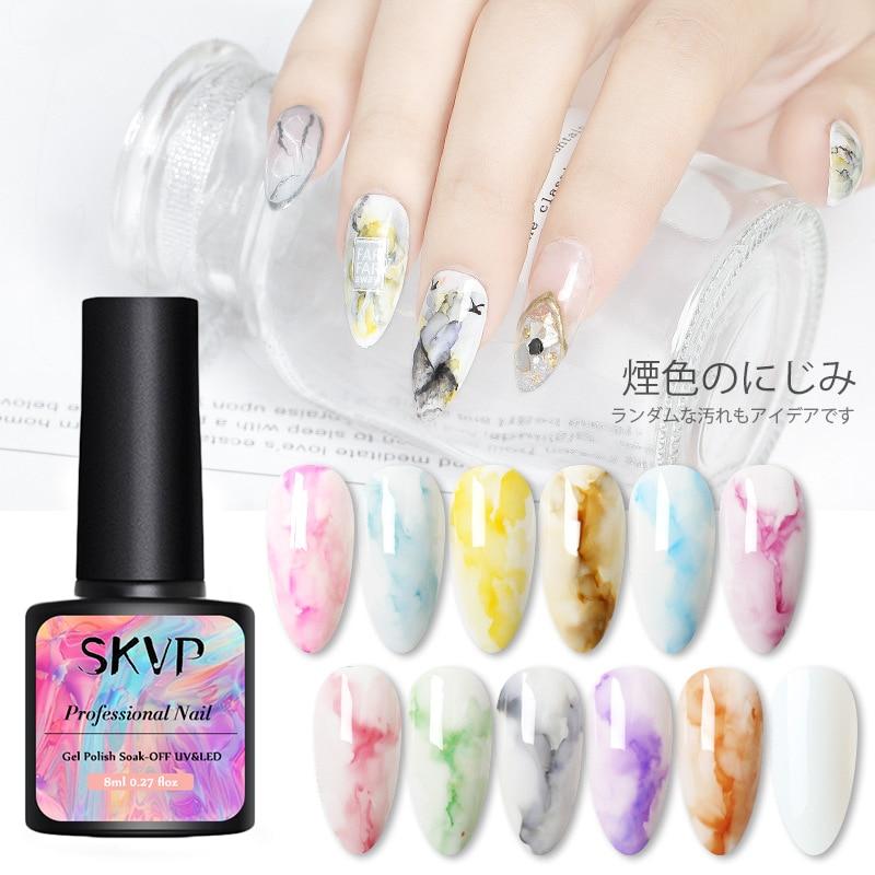 SKVP floraison encre vernis à ongles aquarelle effet de fumée marbre tache liquide Gel effet de fumée pas besoin UV/lampe à LED vernis à ongles