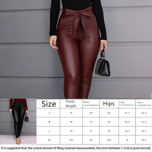 Spring Women Pu Leather Pants Black Sexy Stretch Bodycon Trousers High Waist Long Casual Pencil S-3XL Winter 6