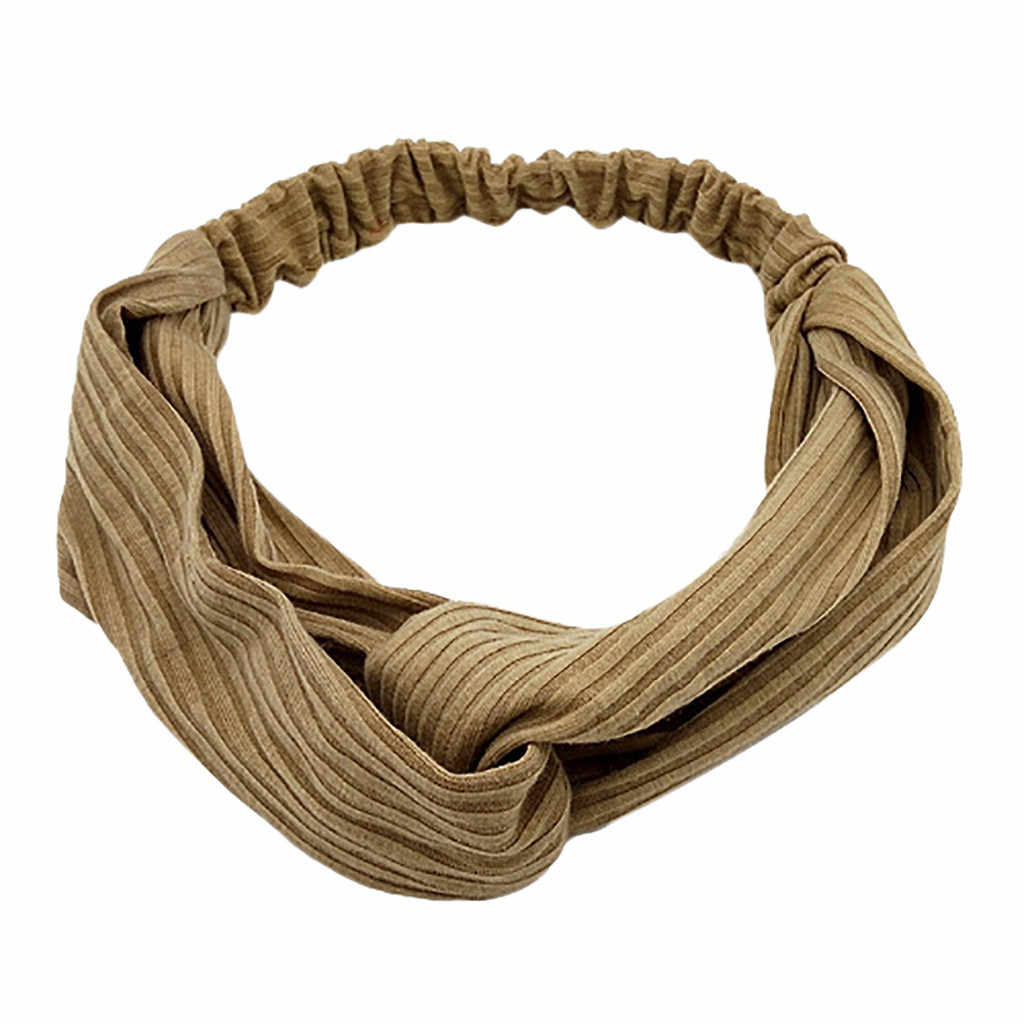 JAYCOSIN อุปกรณ์เสริมแฟชั่นผู้หญิง Twist Knot สีทึบอารมณ์ Hairband Vitality Elastic HEAD Wrap Turban ผม BAND