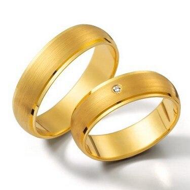 Hommes et femmes plaqué or jaune santé titaniuml bijoux de mode anneaux de mariage ensembles pour lui et elle