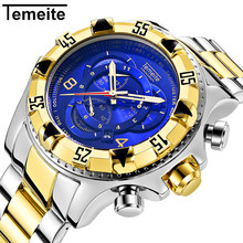 Temeite Big Dial Watch Men Stainless Steel Gold Watches Male Waterproof 6 Pointer Multi-function Chronograph Wristwatch