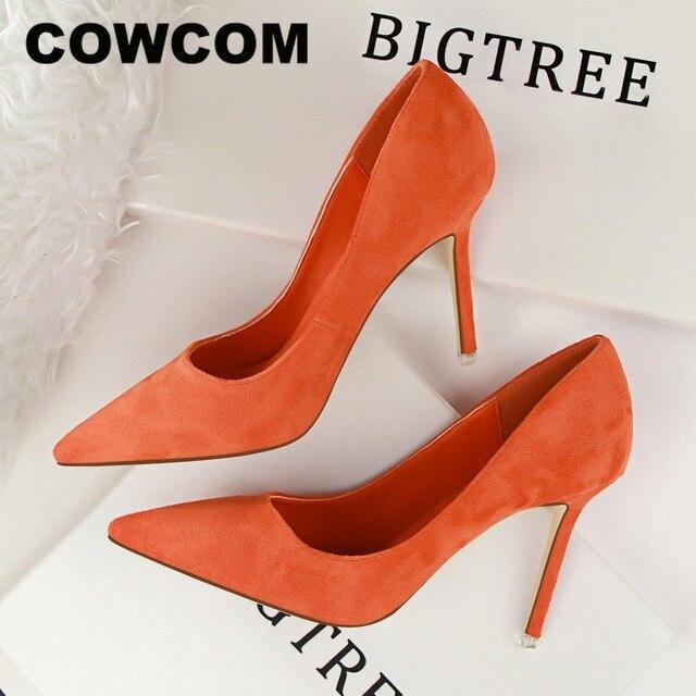 COWCOM 9cm 섹시 포인트 발가락 오렌지 섹시 스틸 레토 하이힐 얕은 입술 스웨이드 전문 OL 여성 구두 DS 516 1