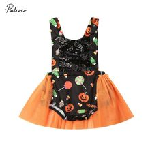 2019 Brand Infant Baby Girls Kids Pumpkin Print Backless Summer Tulle Romper Tutu Dress Halloween Costume Outfit 0-24M(China)