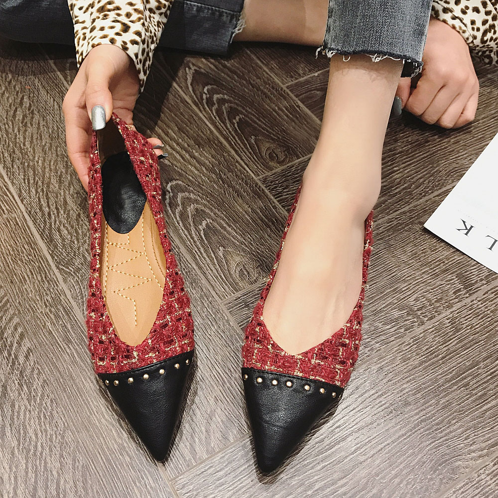2020 Brand Women Flats Rivet Slip-On Fashion Women Shoes Office Ladies Work Shoes Females Footwear Plus Size 4-10 Black 1.5CM