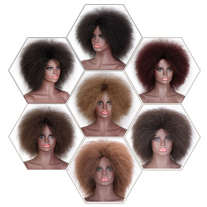 Image 2 - Doris beauty Afro Wig for Women African Dark Brown Black Red Color Yaki Straight Short Wig Synthetic Cosplay Hair