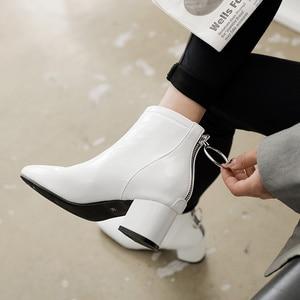 Image 5 - Botines de mujer informales con tacón de bloque, botas cortas impermeables, color rosa, rojo y blanco, talla grande