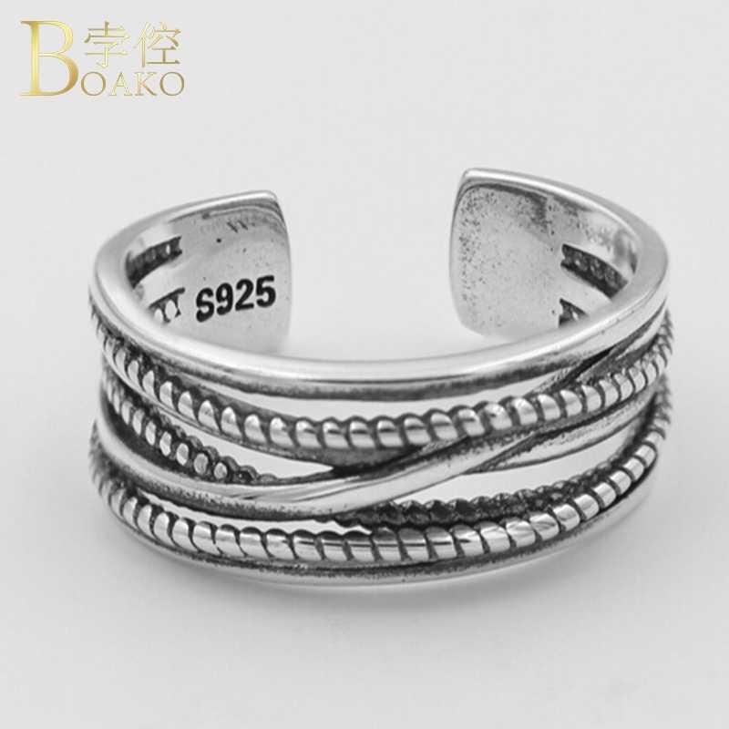 925 แหวนเงินงานแต่งงานแหวนหมั้นผู้หญิงกว้างปรับนิ้วมือแหวนหญิง CROSS Twist สาย anillos K5