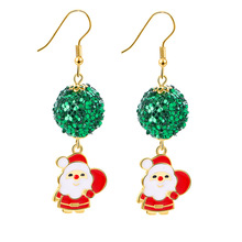 1 Pair Alloy Christmas Ornaments Sequin Santa Claus Deer Bell Earrings Set Decoration Gifts for Women 2019