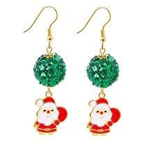1 Pair Alloy Christmas Ornaments Sequin Santa Claus Deer Bell Earrings Set Christmas Decoration Christmas Gifts for Women 2019 цена в Москве и Питере