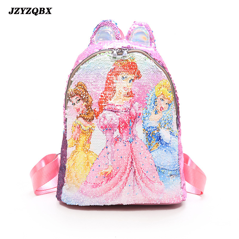 JZYZQBX Sofia The First School Bag Discoloration Sequins Backpack Children's Plecak School Backpack For Girls