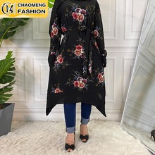 New Design Fashion Printing High Quality Muslim For Women Casual Tops Malaysia Turkey Arabic Islamic Clothing Shirt Blouse Mujer
