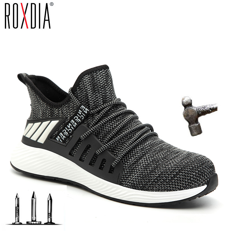 Ultra-light Steel Toe Cap Men Boots Safety Shoes Women Work Sneakers Breathable Outdoor Shoe Plus Size 36-46 ROXDIA Brand RXM159